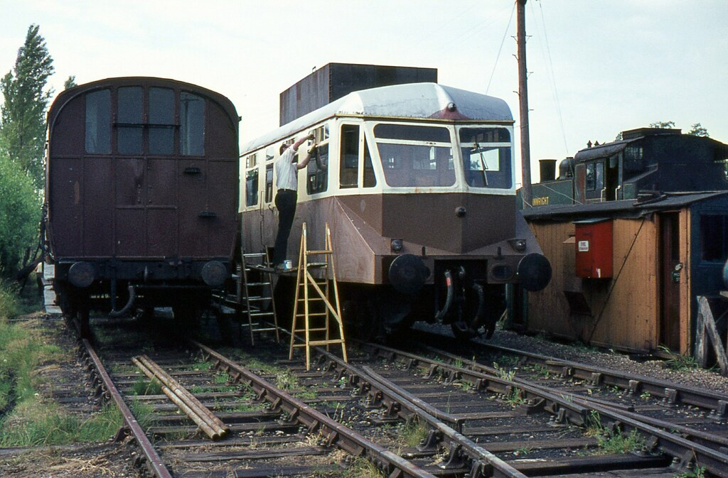 GWR Diesel Railcar undergoing restoration, Kent & East Sussex Railway, June 1970 by Crewcastrian