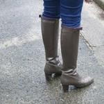 heeled brown rain boots
