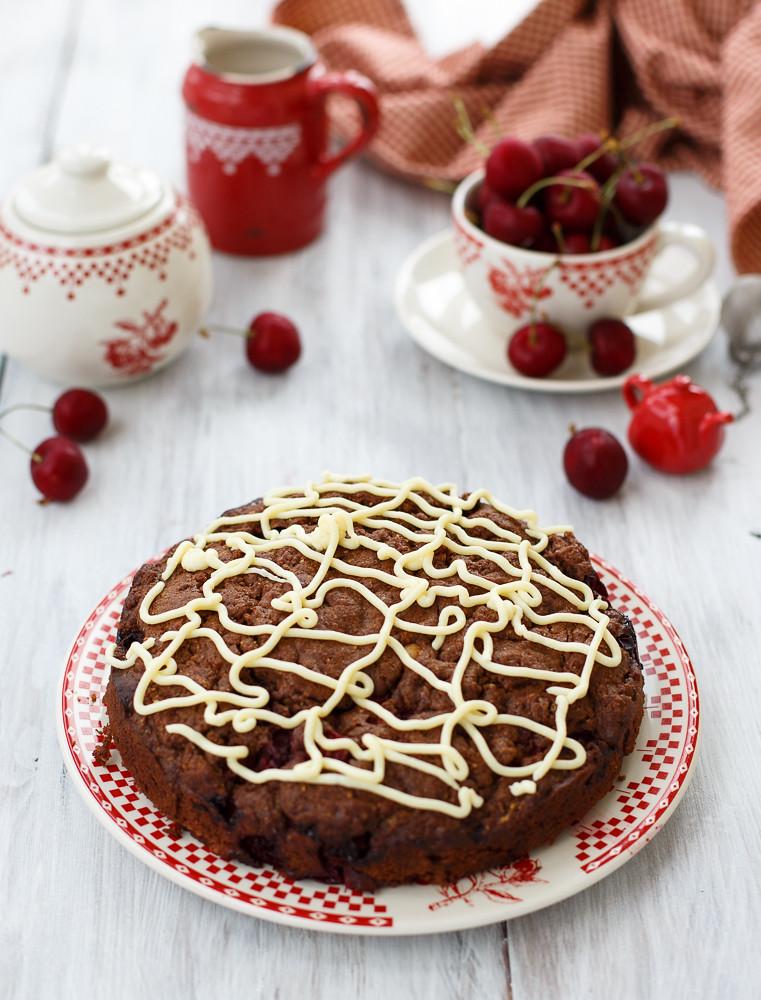 Chocolate cherry cake with white chocolate topping