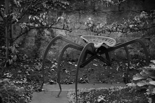 A metal spider in the garden