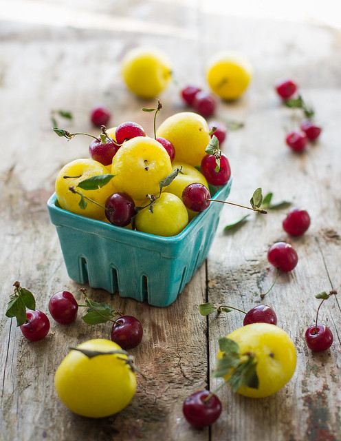 Yellow plums and cherries