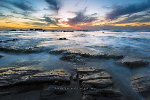 sunset newzealand water rock landscape coast scenery nz southisland westcoast southnz