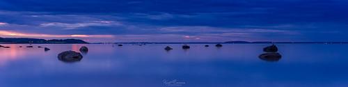 longexposure nightphotography blue light sea sky panorama seascape nature water norway landscape smooth vivid wideangle le shore nightphoto tønsberg tranquillity vestfold