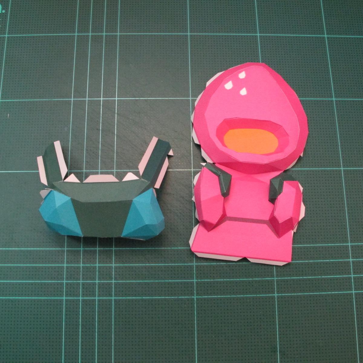 วิธีทำโมเดลกระดาษตุ้กตาคุกกี้รัน คุกกี้รสสตอเบอรี่ (LINE Cookie Run Strawberry Cookie Papercraft Model) 028