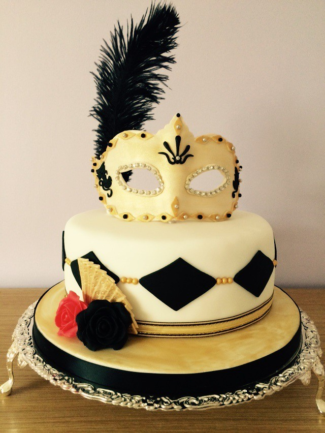 Black and White Masquerade Birthday Cake | This is a birthda… | Flickr