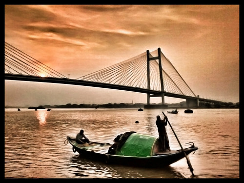 bridge sunset sky india crimson river kolkata boatride vidyasagar setu cablestayed mobilephotography