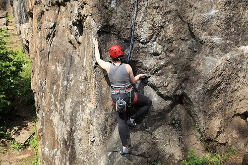 Rockclimbing in Strathcona Provincial Park, Vancouver Island, British Columbia, Canada.
