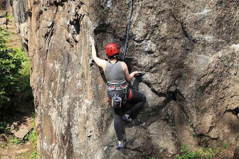 Rockclimbing in Strathcona Provincial Park, Vancouver Island, British Columbia, Canada.