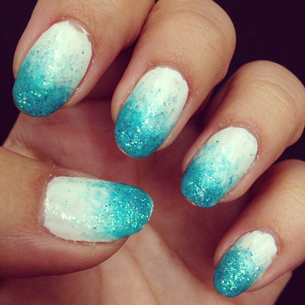 Ombre Nails New Ombre Nail Style White And Turq Flickr