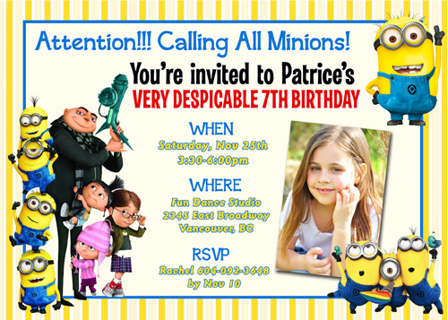 Despicable Me 2 Minions Turbo Snail Racing Custom Birthday Invitation