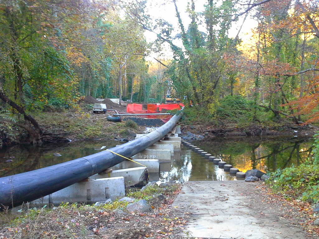 temporary sewer line over Holmes Run