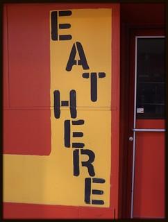 Sign: Eat Here, Downtown Detroit--Detroit MI