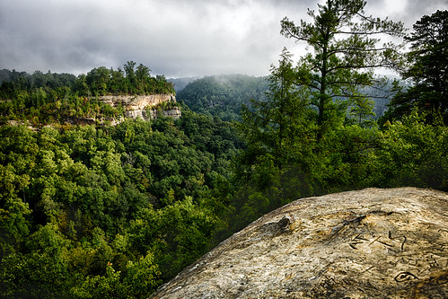 morning travel trees sky cliff sun sunlight nature rock fog stone clouds forest landscape day arch view kentucky arches location valley gorge hdr highdynamicrange redrivergorge