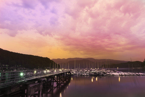 travel light sunset sky seascape color colour beautiful weather night clouds landscape boats pier dock nikon skies view cloudy dusk gorgeous sunsets wideangle hues northshore deepcove stunning northvancouver sailboats nikkor yvr masts twighlight northvan greatervancouver