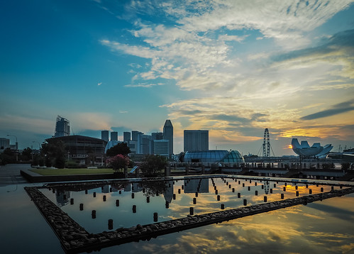 skyline architecture sunrise reflections singapore cityscape cloudy marinabay