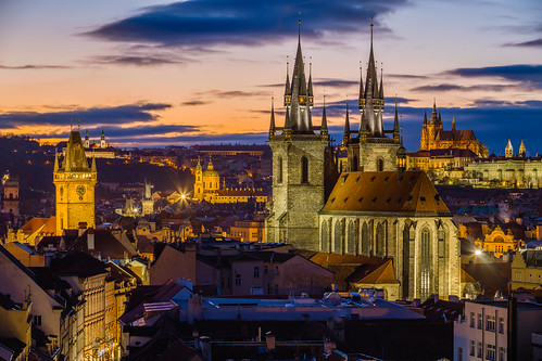 Prague from Powder Tower, with Our Lady before Týn, St. Nicolas, and St. Vitus Cathedral | by jiuguangw