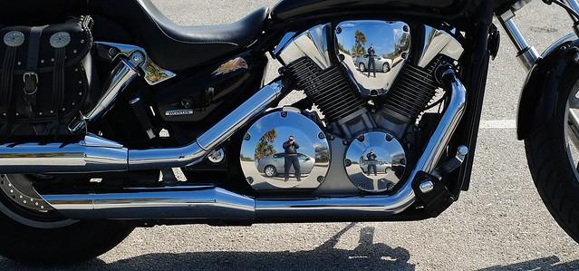Blue sky V-twin Multiple self-portrait