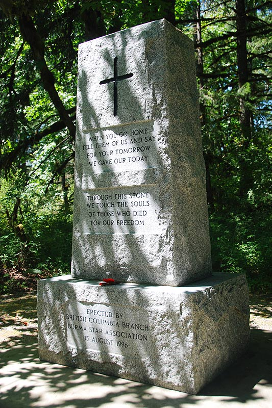 Burma Star Memorial Cairn in Cowichan River Park, Cowichan Valley, Vancouver Island, British Columbia, Canada