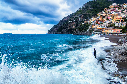 Man Against the Sea in Positano Italy by Michael Matti