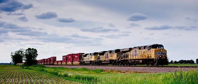 Union Pacific 7778, 8401 and 8630 near Maple Park, Illinois