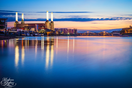 city uk sunset england reflection building london station thames architecture river boats europe long exposure cityscape power gb battersea