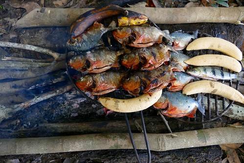 Piranhas Barbeque Grill MV Amatista Peruvian Amazon Jungle Cruise / Selva Peruana