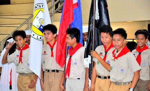 Local boy scouts in the newly-rehabilitated Bantayan Civic Center | by dilg.yolanda