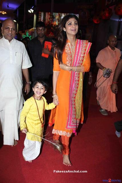 Shilpa Shetty in Orange Churidar Salwar Kameez at ISKCON Temple