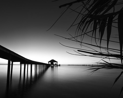 longexposure travel beach water monochrome silhouette pier al travels nikon alabama perspective pointofview traveling d800 mobilebay travelphotography santocommarato