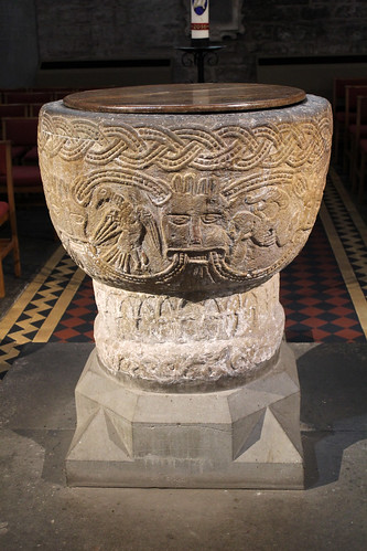 12th century font at Brecon Cathedral   by pluralzed