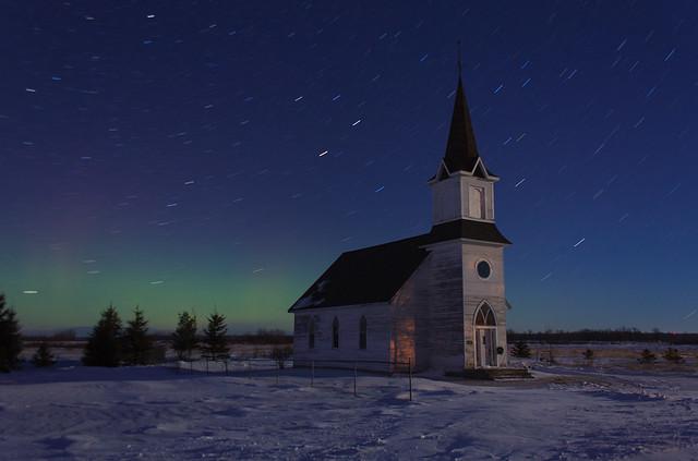 Bethlehem Lutheran & the Northern Lights [Explored]