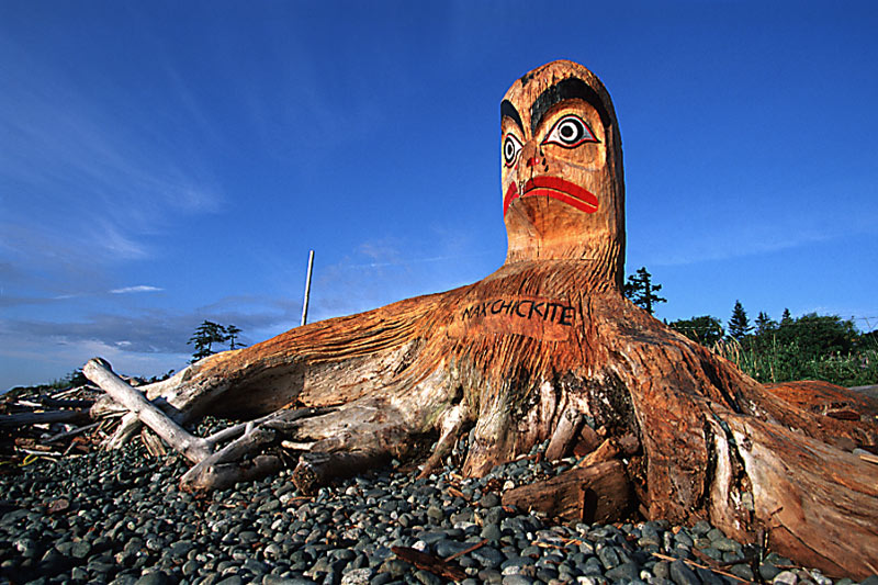 Driftwood Carving near Campbell River, Vancouver Island, British Columbia, Canada