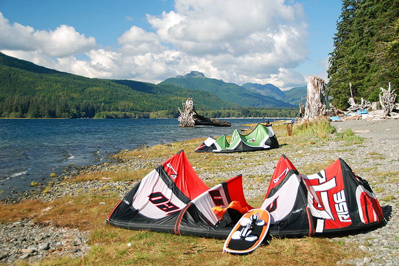 Kite Surfers at Nitinat Lake Recreation Site, Vancouver Island, British Columbia, Canada