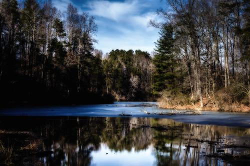 winter lake ice creek river pond stream natural hiking ivy bluesky area charlottesville albemarle rivannareservoir