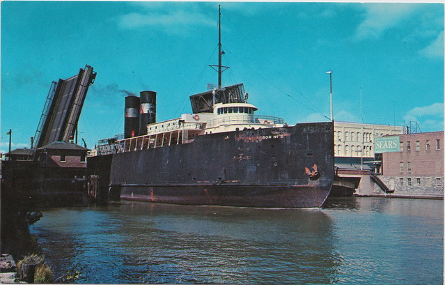 SHIP Manitowoc WI Frankfort Elberta MI c.1950s AARR SS No. 5 Passing-thru GREAT LAKES STEAMER CAR FERRY No. 5 built 1910 for Ann Arbor Railroad 360 footer Retired 1966