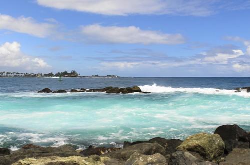 ocean old color water puerto bay san colorful day juan cloudy sunny spray atlantic rico tropical tropic caribbean splash tropics