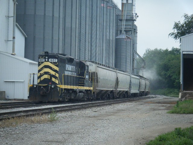 Grain train being loaded at South Milford Indiana