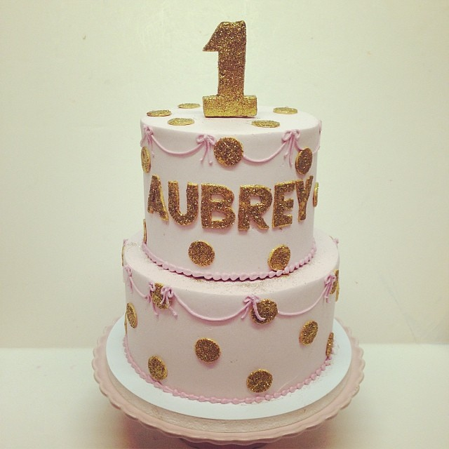 Pink And Gold First Birthday Cake Polkadotscupcakefactory Flickr