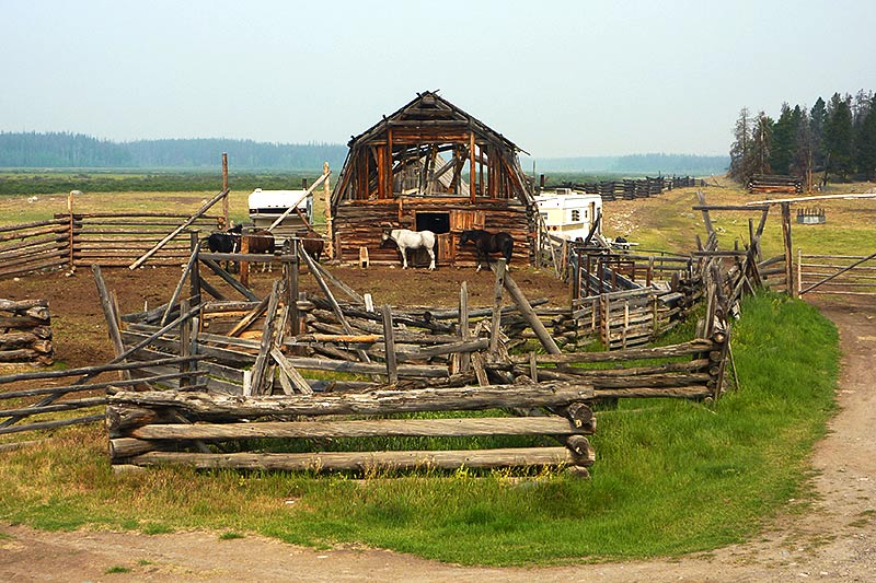 Horse Barn in Nimpo Lake, Highway 20, Chilcotin, British Columbia