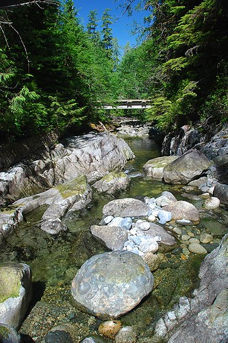 Cougar Creek flows into Tlupana Inlet, Nootka Sound, Vancouver Island, British Columbia