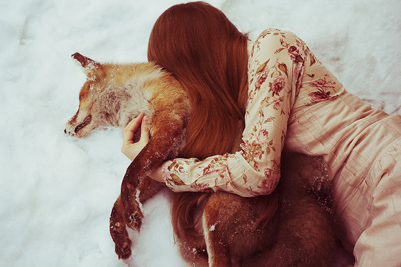 fairy tale about a girl who found dead animal in the forest and shared it with her warmth
