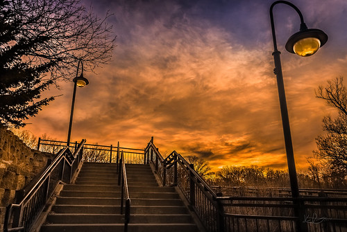 sky clouds sunrise landscape stairway lampost drama hdr dramaticelight