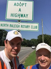 Chris Morden and Jim Morgan working the eastern end of the club's responsibility on Lynn Rd. ran into a cool sign.