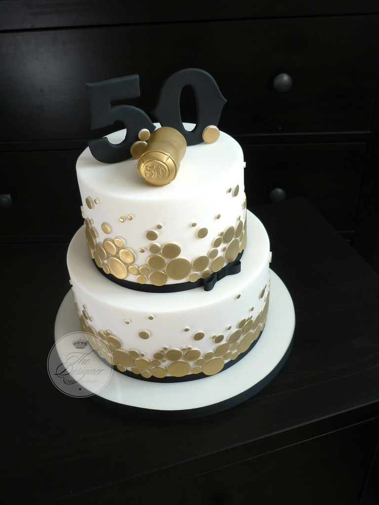 Sensational Champagne Themed 50Th Birthday Cake The Brief For This Cak Flickr Personalised Birthday Cards Veneteletsinfo