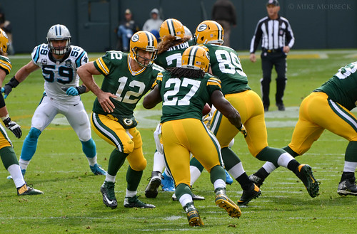 Aaron Rodgers, Eddie Lacy | by Mike Morbeck