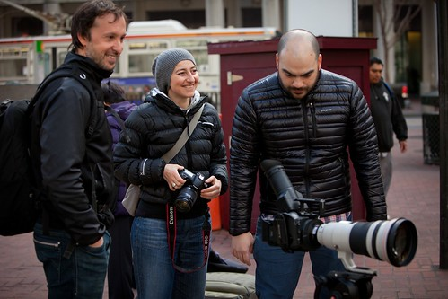 Manfrotto Be Free Tripod ad shoot BTS - San Francisco happy clients trolley shot | by The Bui Brothers