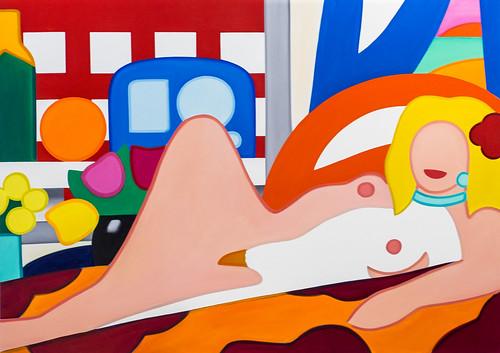 """Painting by Tom Wesselmann: Sunset Nude with Wesselmann Still Life, 2004 (Oil on canvas)"" / Bernard Jacobson Gallery / Art Basel Hong Kong 2013 / SML.20130523.6D.14062"