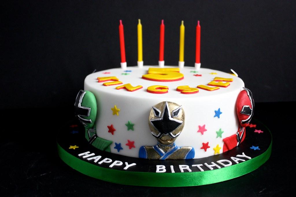 Groovy Power Rangers Super Samurai Birthday Cake For Fiv Flickr Personalised Birthday Cards Veneteletsinfo