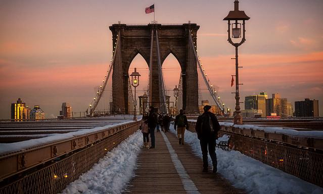 Brookyn Bridge at sunset