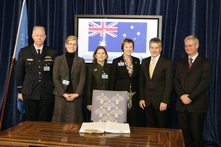 Australian Minister for Foreign Affairs Stephen Smith signs the Convention on Cluster Munitions in Oslo, Norway, on 3 December 2009. Photo: Commonwealth of Australia